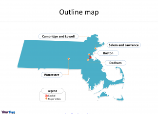State of Massachusetts map with outline and cities labeled on the Massachusetts maps PowerPoint template