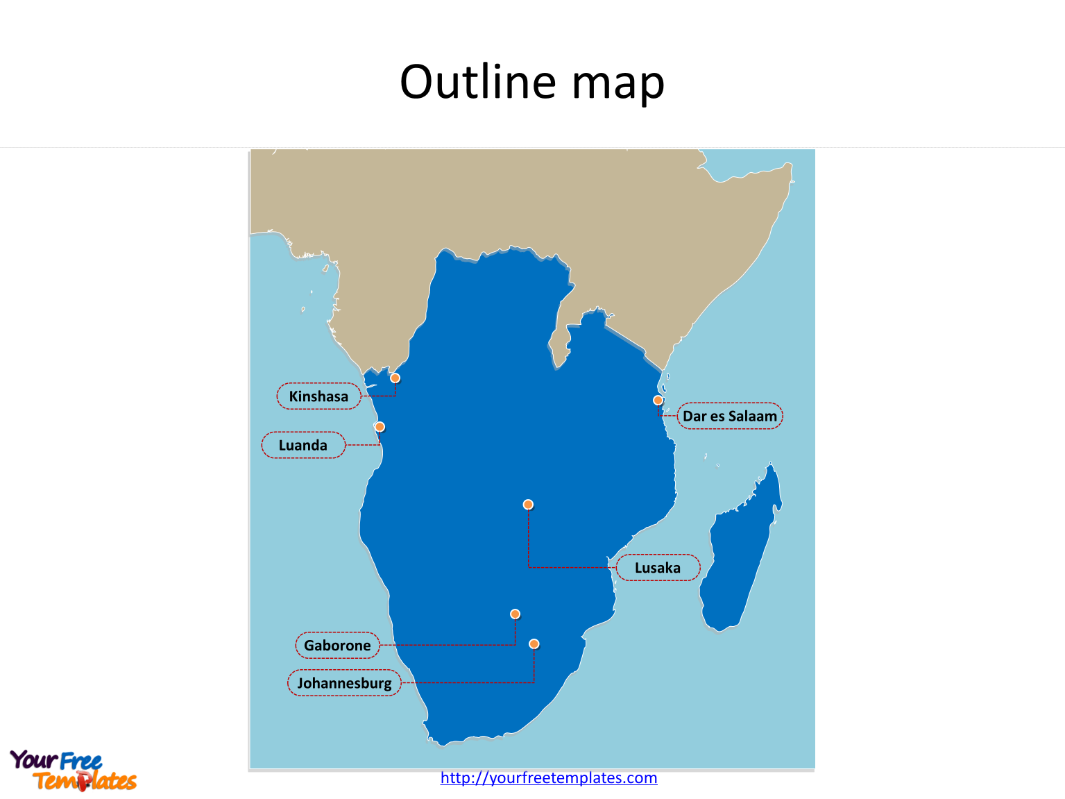 Map of SADC countries with outline and cities labeled on the SADC countries Map templates