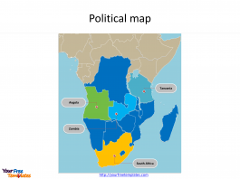Map of SADC countries with individual countries and major Countries labeled on the SADC countries Map templates