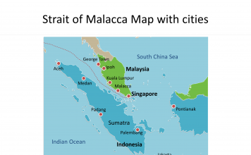 Map of Strait of Malacca with cities on the Strait of Malacca map free templates