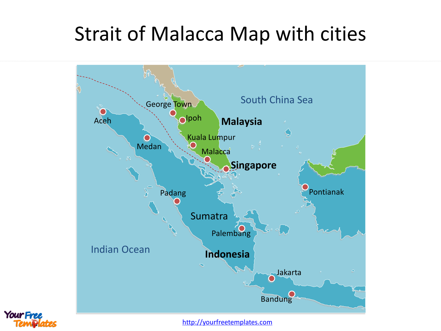 Strait Of Malacca Map Strait of Malacca map templates   Free PowerPoint Templates