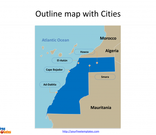 Northern africa archives free powerpoint templates western sahara map templates toneelgroepblik Choice Image