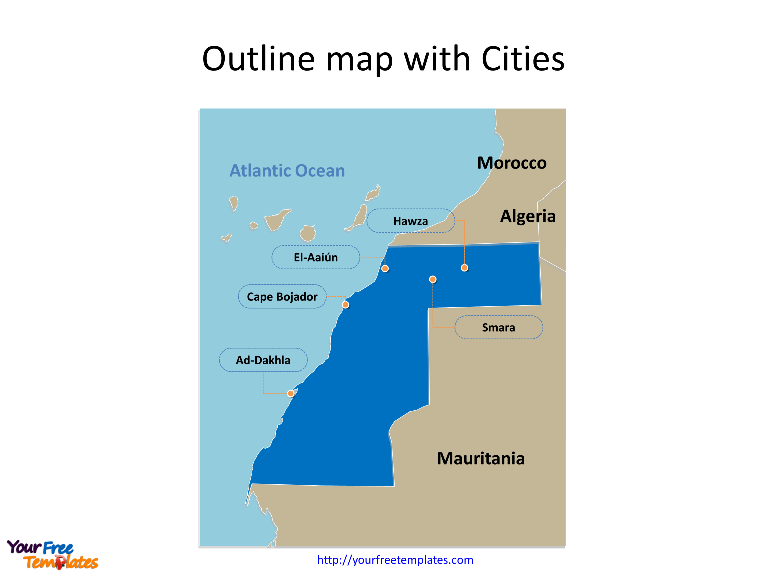 Map of Western Sahara with major cities on the Western Sahara Map templates