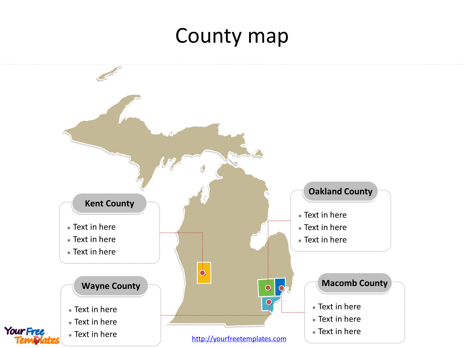 State of Michigan map with most populated counties labeled on the Michigan maps PowerPoint templates
