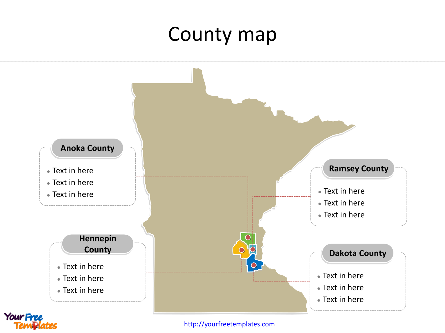State of Minnesota map with most populated counties labeled on the Minnesota maps PowerPoint templates