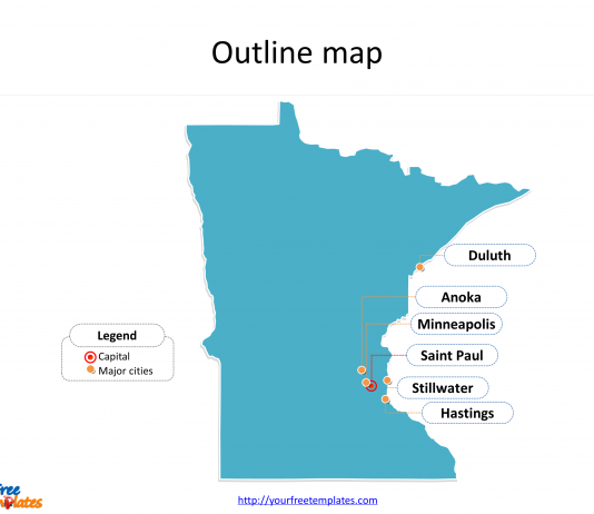 State of Minnesota map with outline and cities labeled on the Minnesota maps PowerPoint templates