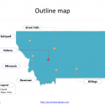 State of Montana map with outline and cities labeled on the Montana maps PowerPoint templates