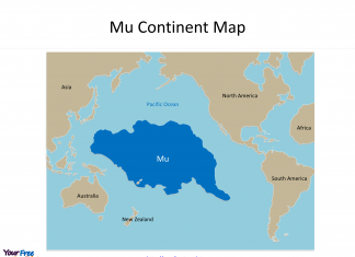 Mu Continent map in our PPT template