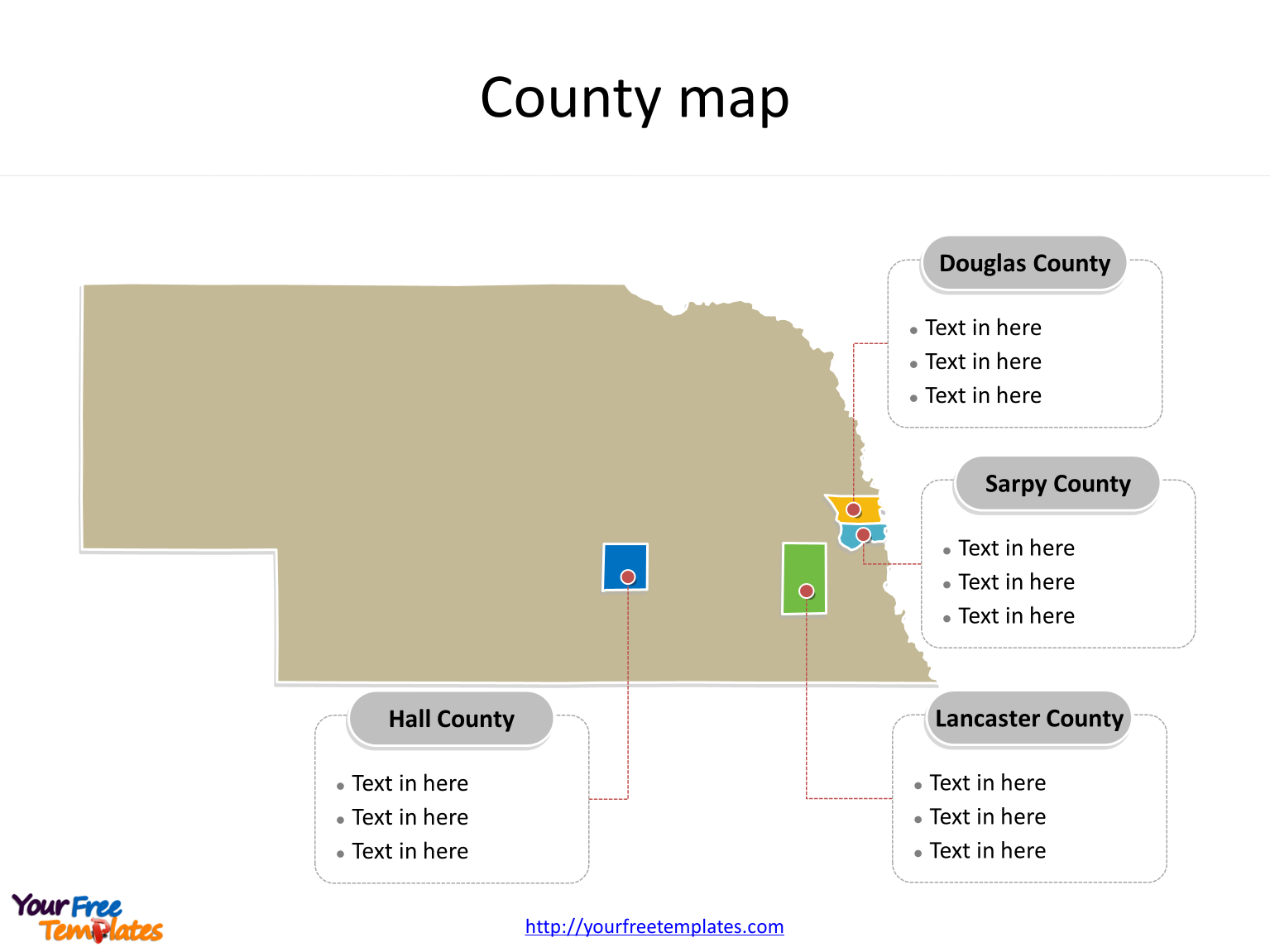 State of Nebraska map with most populated counties labeled on the Nebraska maps PowerPoint templates