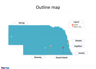 State of Nebraska map with outline and cities labeled on the Nebraska maps PowerPoint templates
