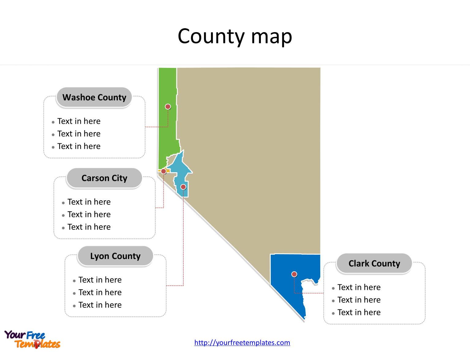 State of Nevada map with most populated counties labeled on the Nevada maps PowerPoint templates