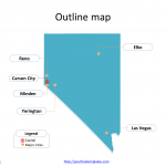 State of Nevada map with outline and cities labeled on the Nevada maps PowerPoint templates