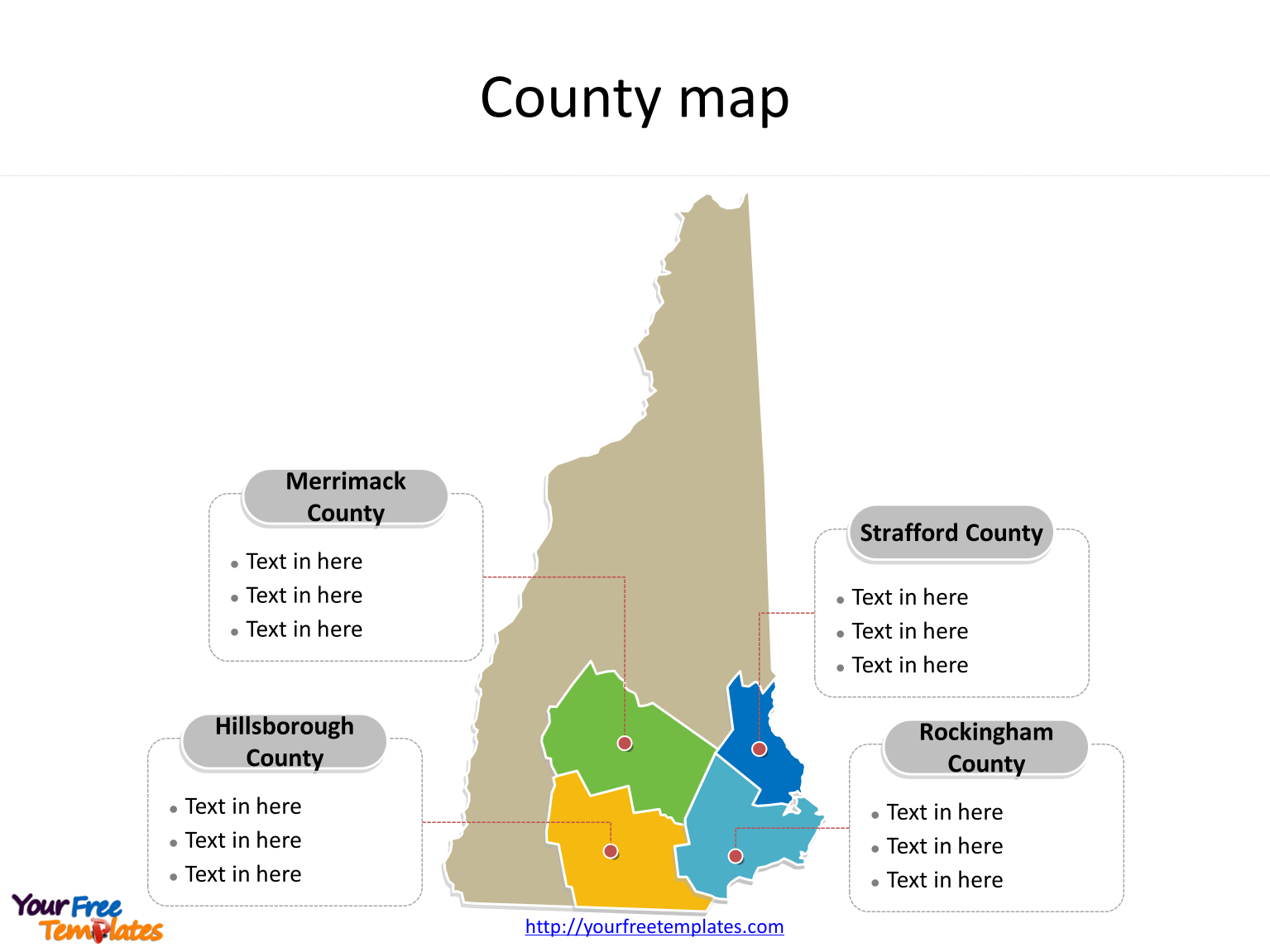 State of New Hampshire map with most populated counties labeled on the New Hampshire maps PowerPoint templates