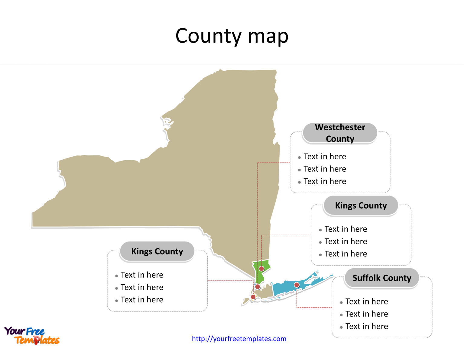 State of New York map with most populated counties labeled on the New York maps PowerPoint templates