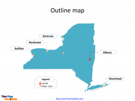 State of New York map with outline and cities labeled on the New York maps PowerPoint templates