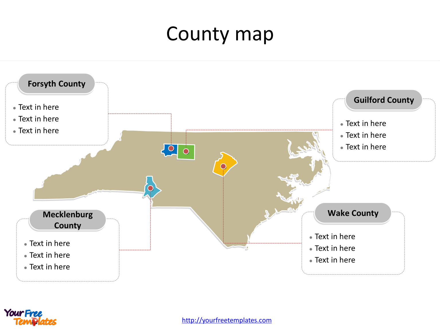 State of North Carolina map with most populated counties labeled on the North Carolina maps PowerPoint templates