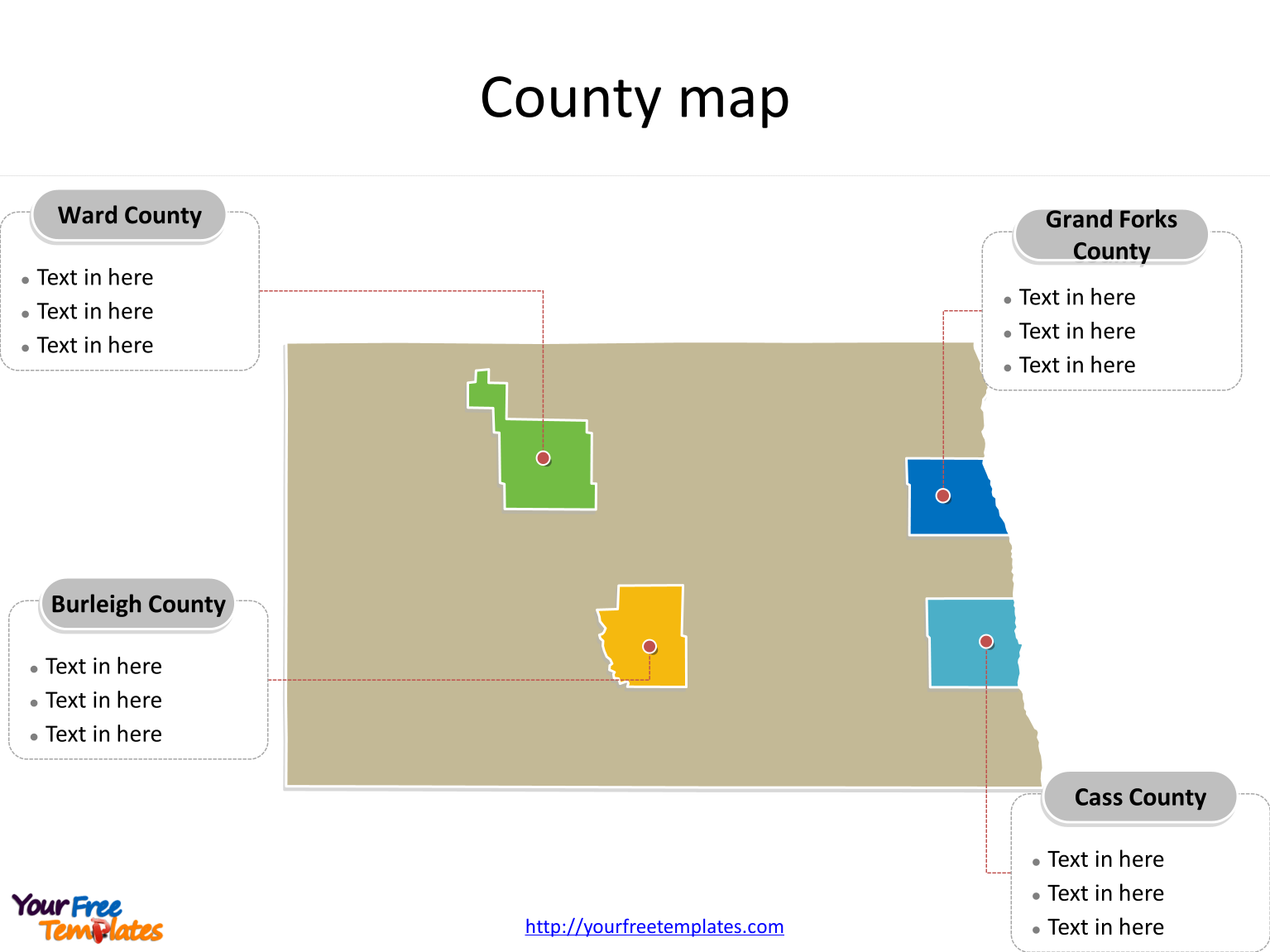 State of North Dakota map with most populated counties labeled on the North Dakota maps PowerPoint templates