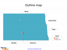 State of North Dakota map with outline and cities labeled on the North Dakota maps PowerPoint templates