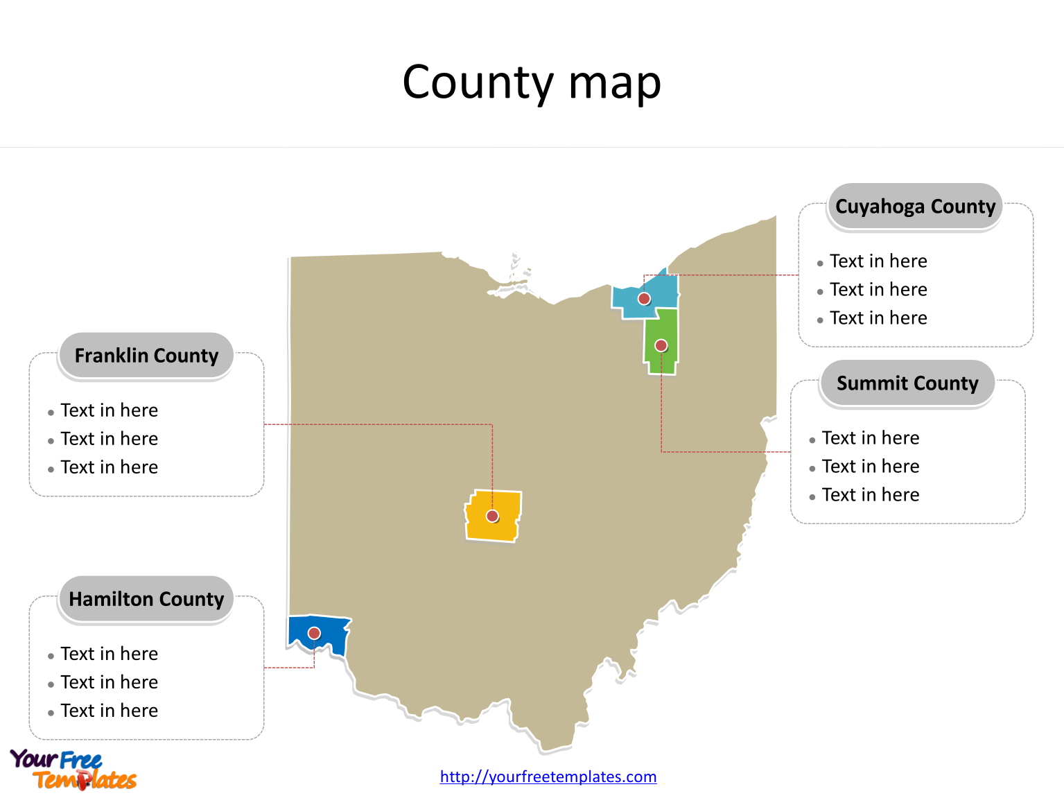 State of Ohio map with most populated counties labeled on the Ohio maps PowerPoint templates