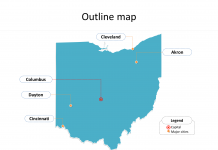 State of Ohio map with outline and cities labeled on the Ohio maps PowerPoint templates
