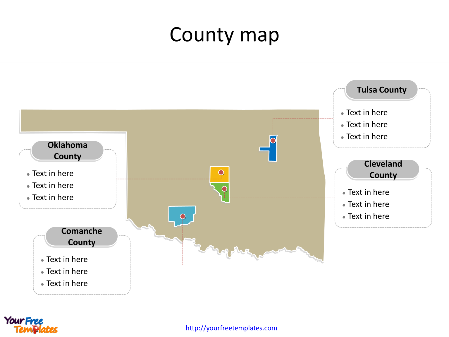State of Oklahoma map with most populated counties labeled on the Oklahoma maps PowerPoint templates