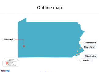 State of Pennsylvania map with outline and cities labeled on the Pennsylvania maps PowerPoint templates