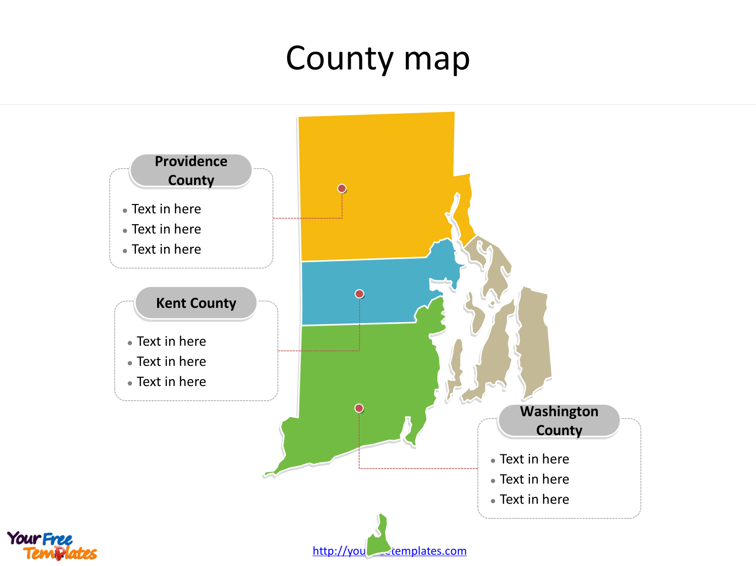 State of Rhode Island map with most populated counties labeled on the Rhode Island maps PowerPoint templates