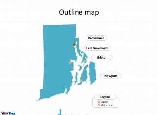 State of Rhode Island map with outline and cities labeled on the Rhode Island maps PowerPoint templates