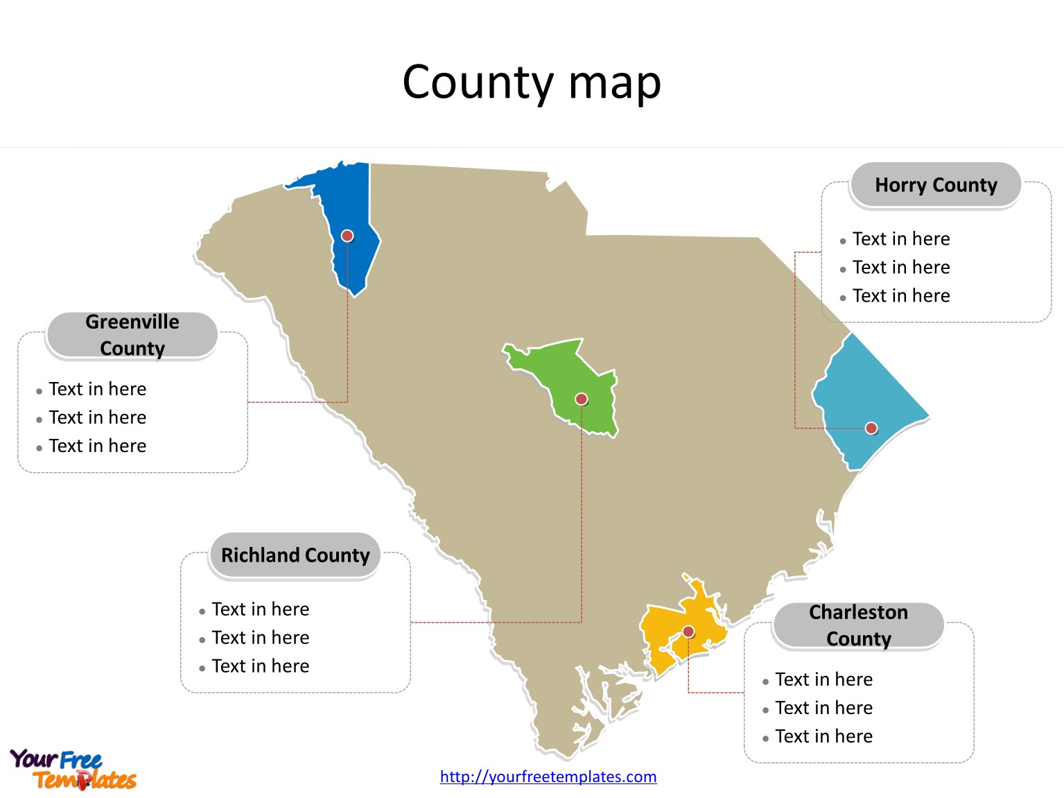 State of South Carolina map with most populated counties labeled on the South Carolina maps PowerPoint templates