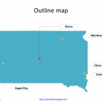 State of South Dakota map with outline and cities labeled on the South Dakota maps PowerPoint templates