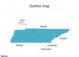 State of Tennessee map with outline and cities labeled on the Tennessee maps PowerPoint templates