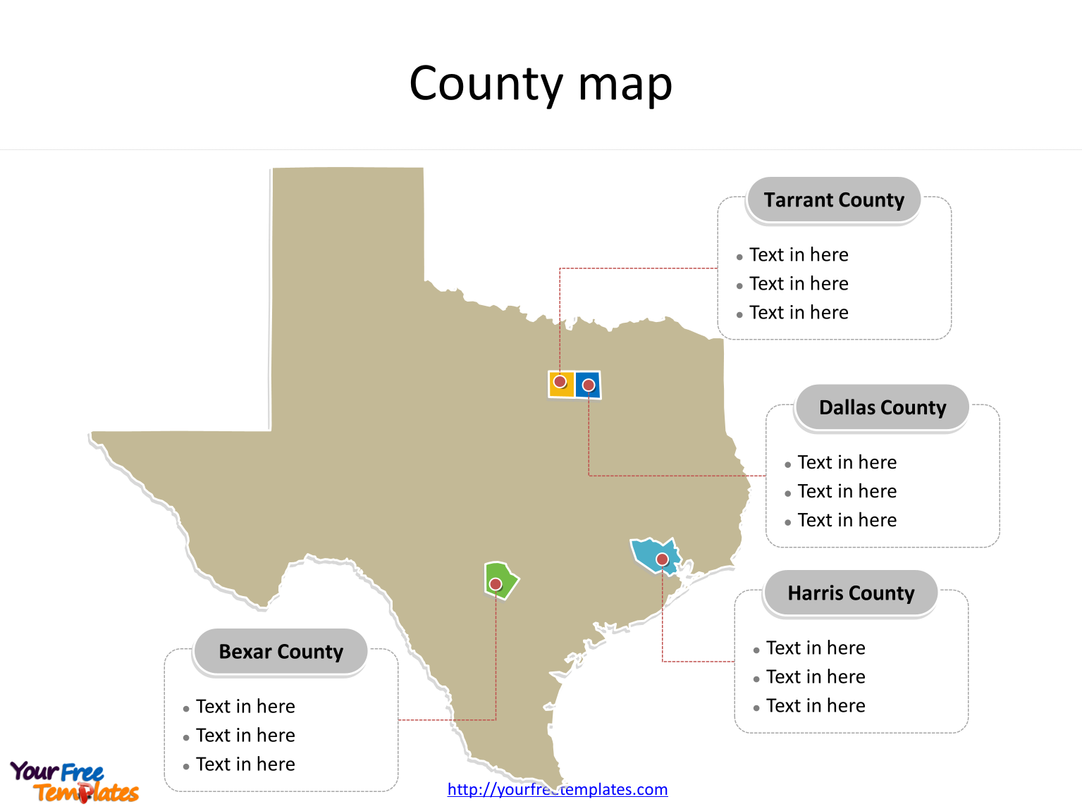 State of Texas map with most populated counties labeled on the Texas maps PowerPoint templates