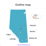 Province of Alberta map with outline and cities labeled on the Alberta maps PowerPoint templates
