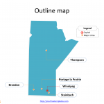 Province of Manitoba map with outline and cities labeled on the Manitoba maps PowerPoint templates