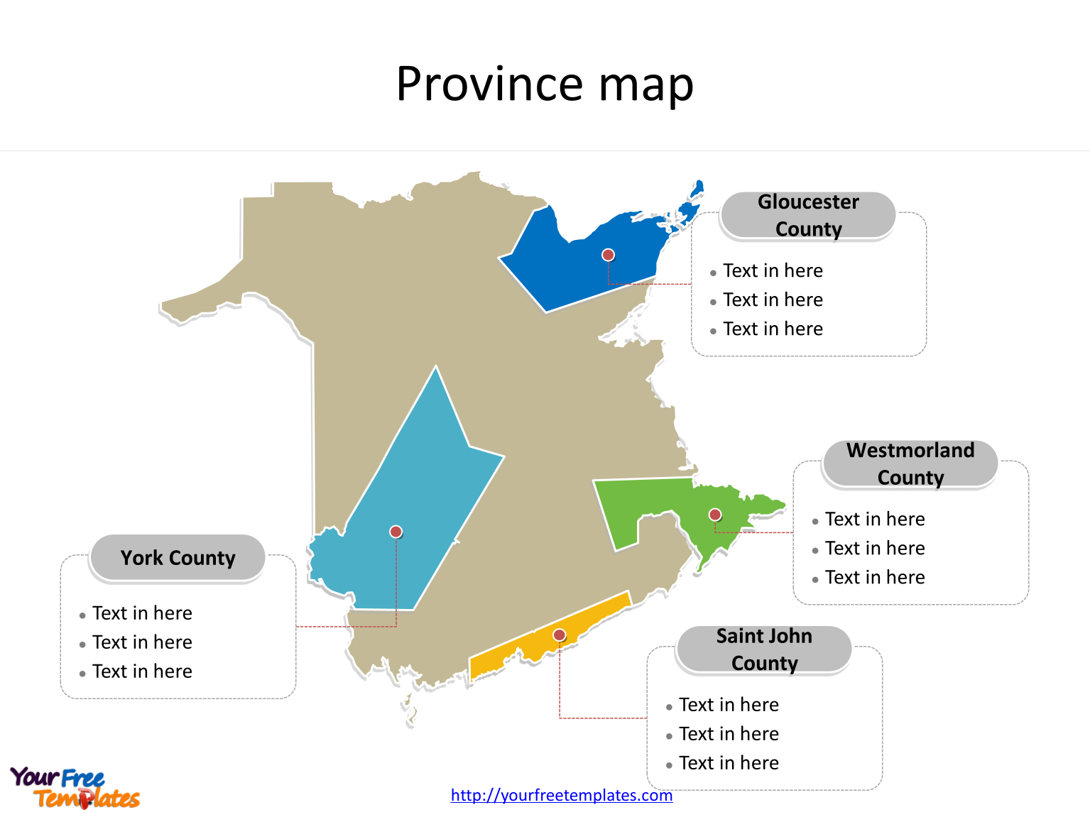 Province of New Brunswick map with most populated census divisions labeled on the New Brunswick maps PowerPoint templates