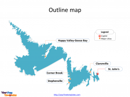 Province of Newfoundland and Labrador map with outline and cities labeled on the Newfoundland and Labrador maps PowerPoint templates