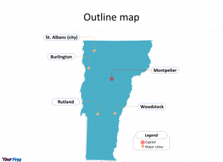 State of Vermont map with outline and cities labeled on the Vermont maps PowerPoint templates
