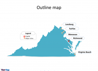 State of Virginia map with outline and cities labeled on the Virginia maps PowerPoint templates