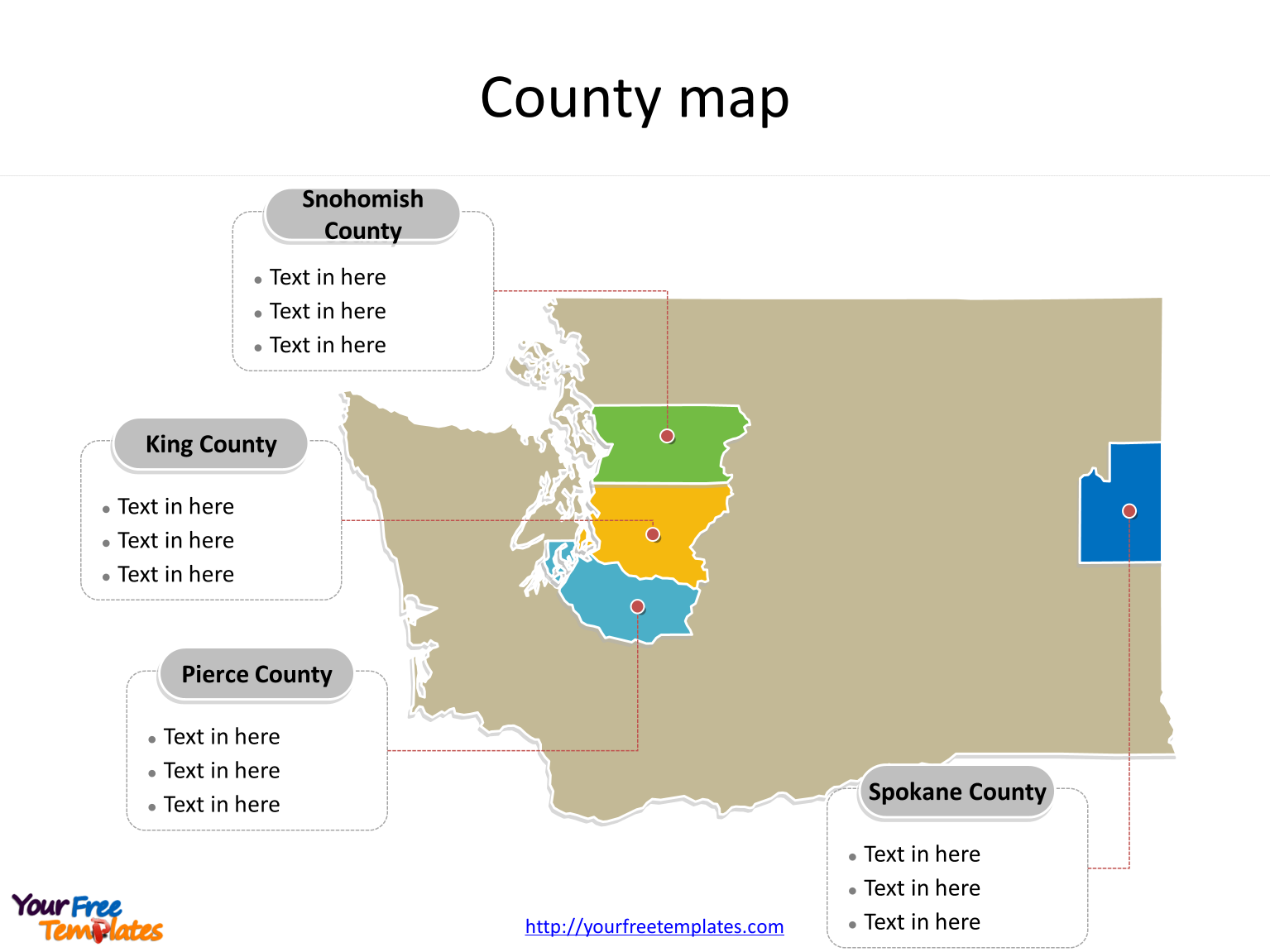 State of Washington map with most populated counties labeled on the Washington maps PowerPoint templates