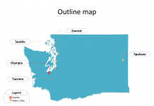 State of Washington map with outline and cities labeled on the Washington maps PowerPoint templates