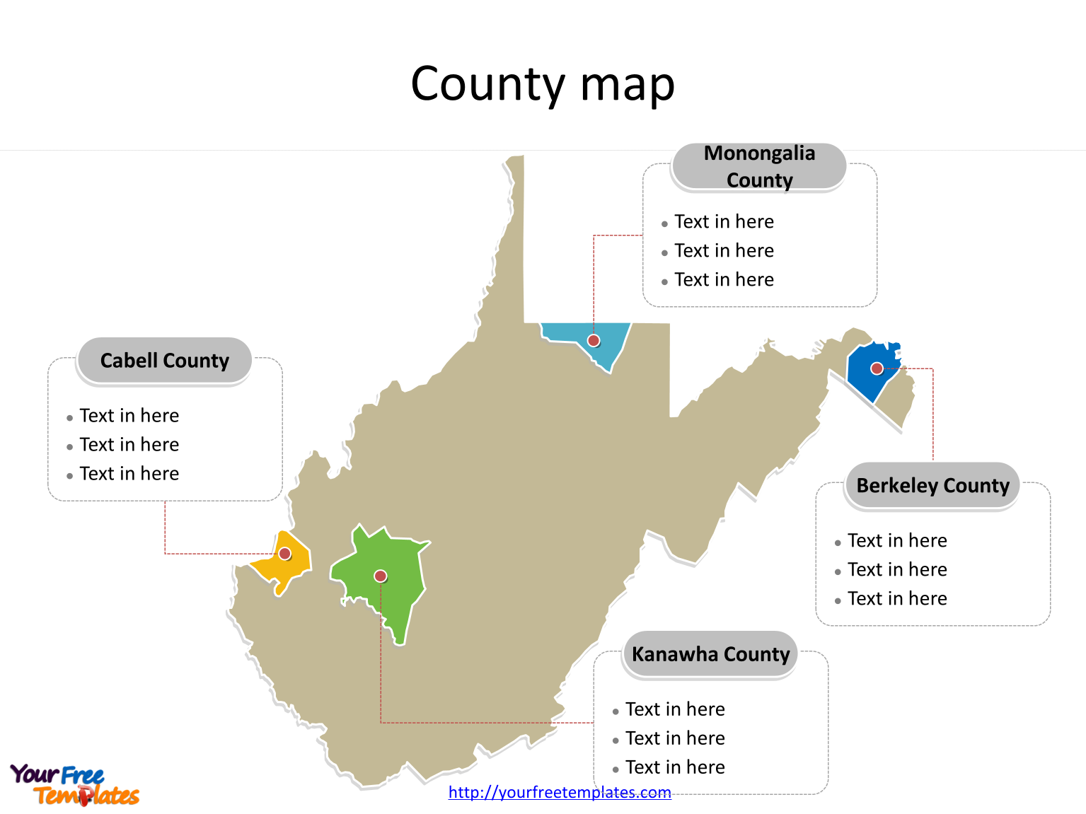 State of West Virginia map with most populated counties labeled on the West Virginia maps PowerPoint templates