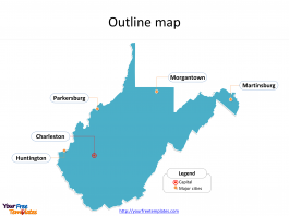State of West Virginia map with outline and cities labeled on the West Virginia maps PowerPoint templates