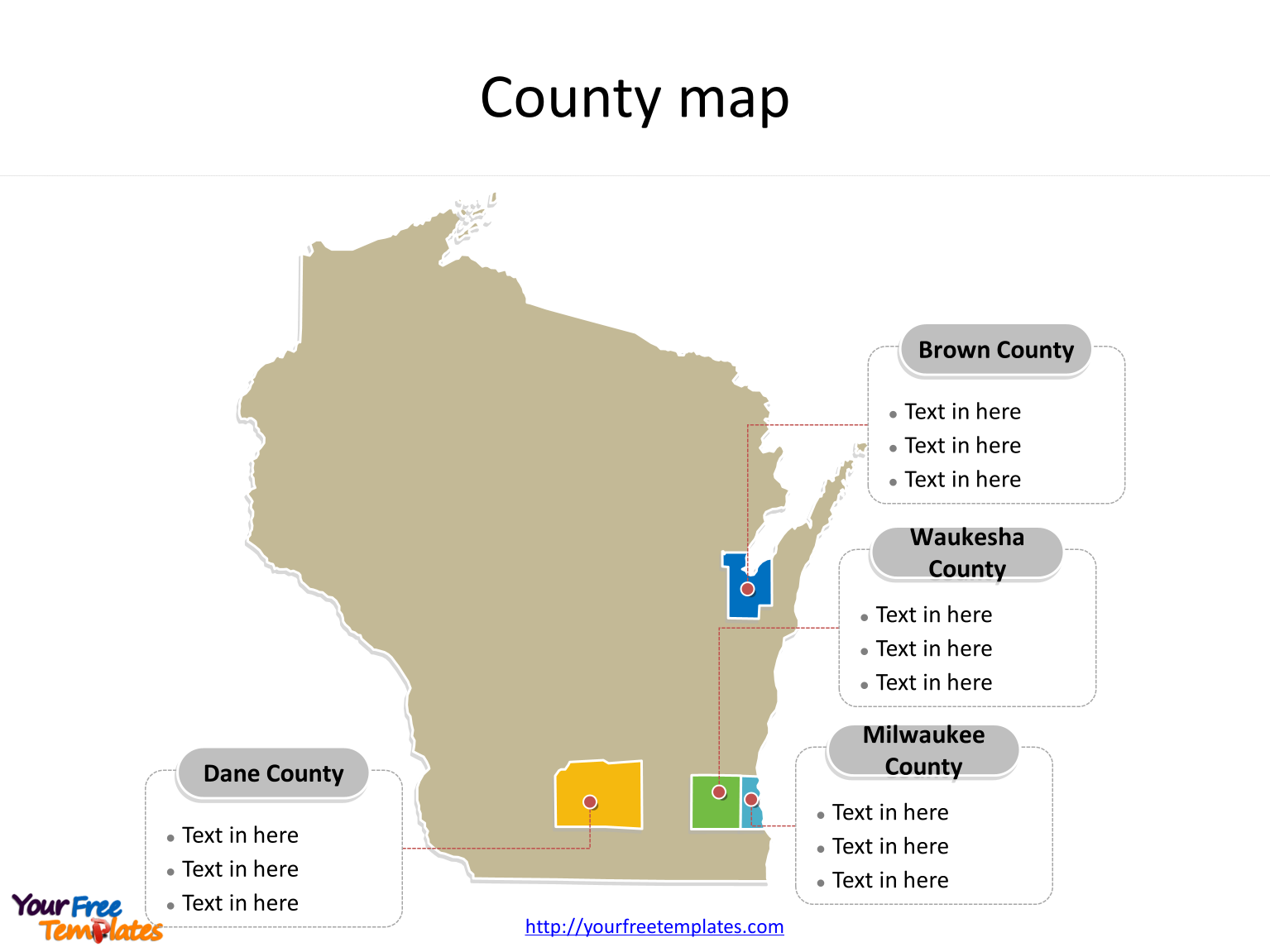 State of Wisconsin map with most populated counties labeled on the Wisconsin maps PowerPoint templates