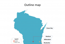 State of Wisconsin map with outline and cities labeled on the Wisconsin maps PowerPoint templates