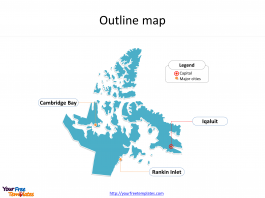 Territory of Nunavut map with outline and cities labeled on the Nunavut maps PowerPoint templates