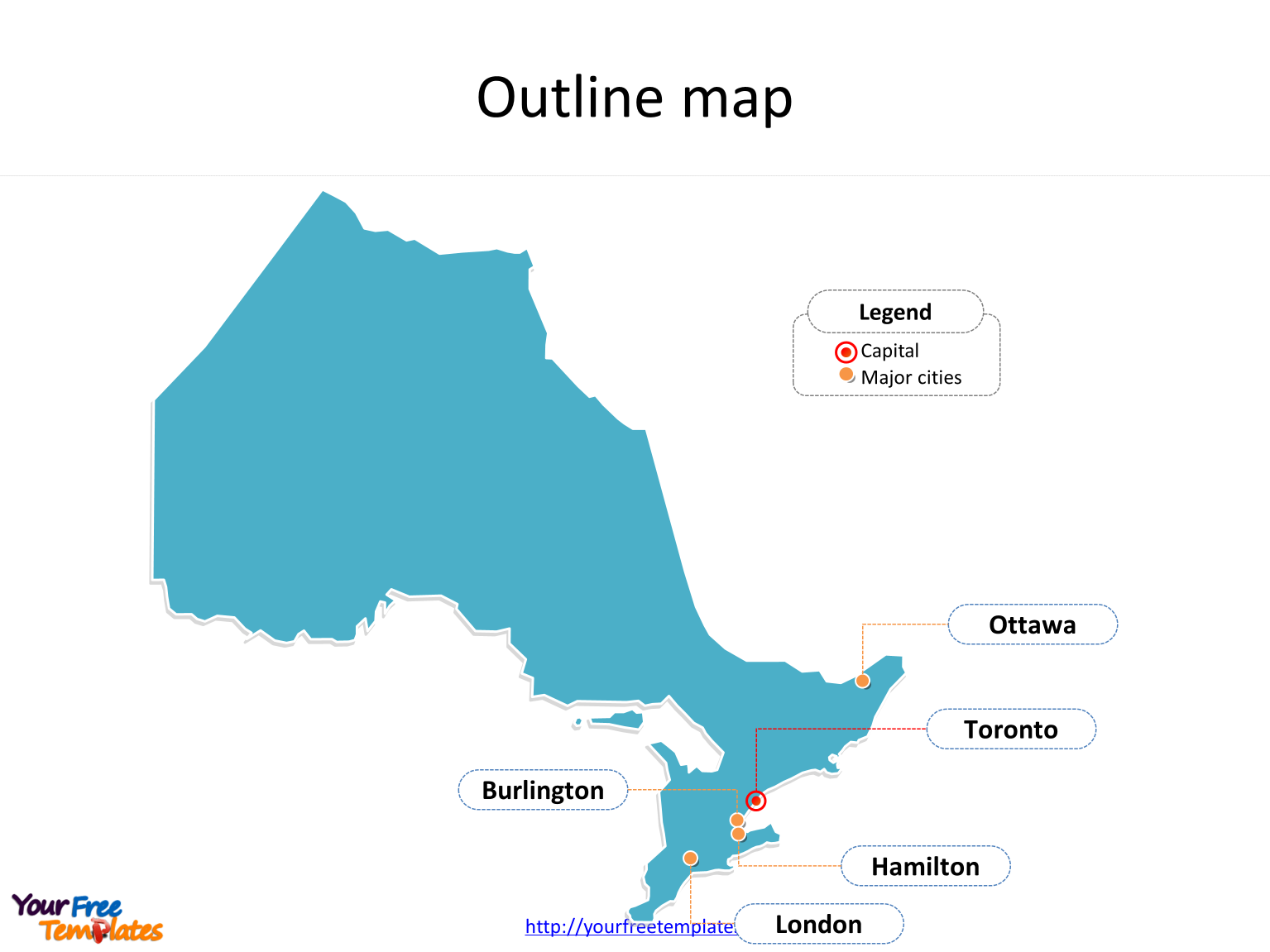 Province of Ontario map with outline and cities labeled on the Ontario maps PowerPoint templates