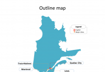Province of Quebec map with outline and cities labeled on the Quebec maps PowerPoint templates
