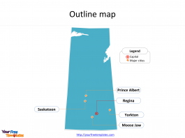 Province of Yukon map with outline and cities labeled on the Yukon maps PowerPoint templates
