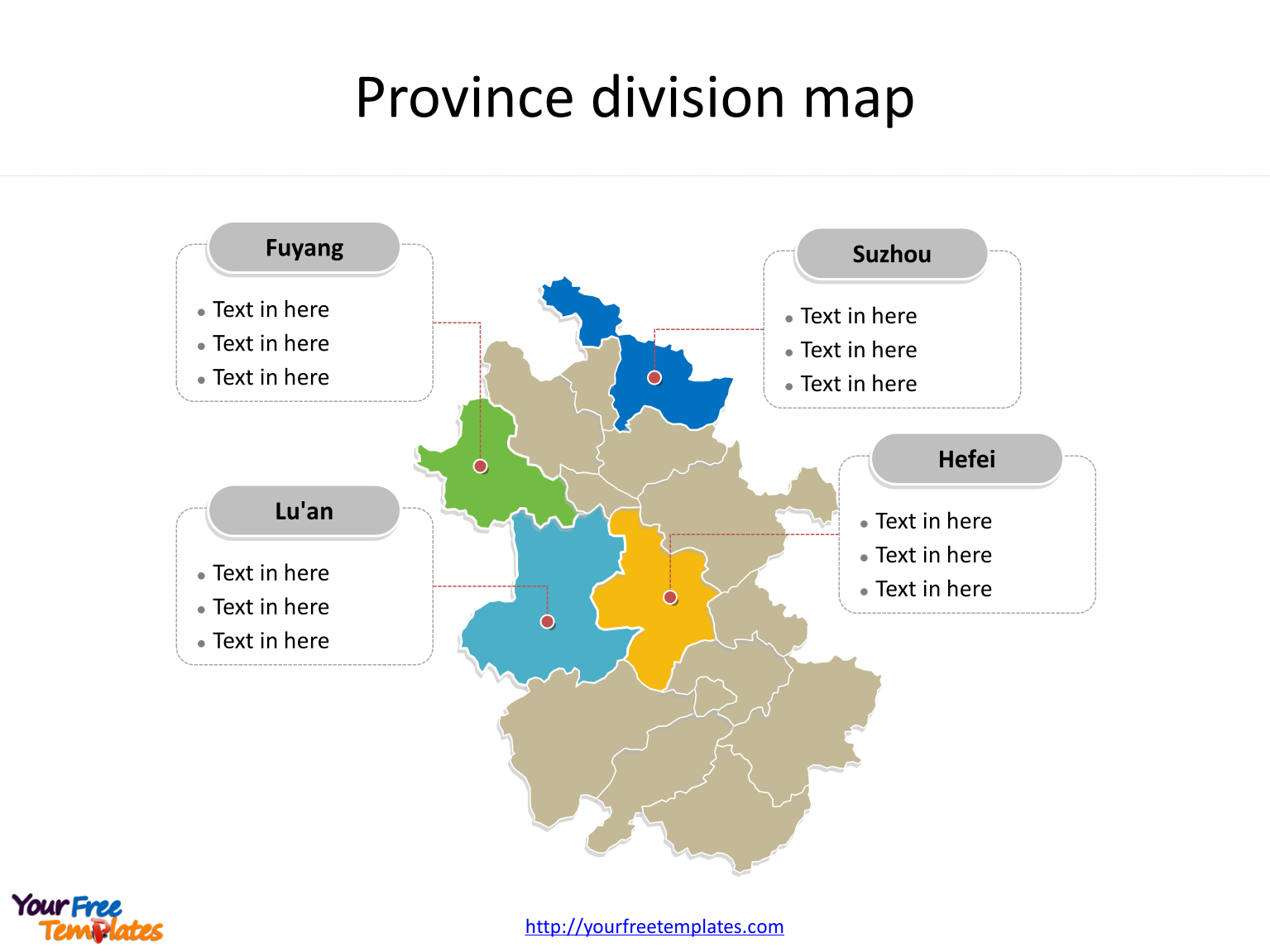 Province of Anhui map with most populated divisions labeled on the Anhui maps PowerPoint templates