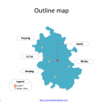 Province of Anhui map with outline and cities labeled on the Anhui maps PowerPoint templates